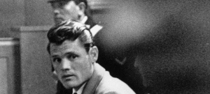 13th April 1961:  American jazz trumpeter Chet Baker (1929 - 1988) during his trial in Lucca, near Florence, Italy, on charges of the illegal use of narcotics for which he was subsequently imprisoned.  (Photo by Keystone/Getty Images)