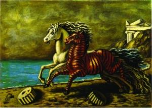 DE CHIRICO, Cavallo e Zebra, 1929-30, 50 x 70 cm, olio su tela
