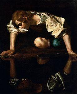 330px-Narcissus-Caravaggio_(1594-96)_edited